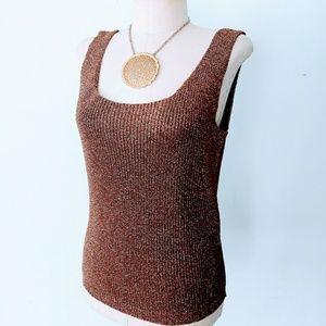 80s Vintage Bronze Metallic Knit Tank Top Blouse